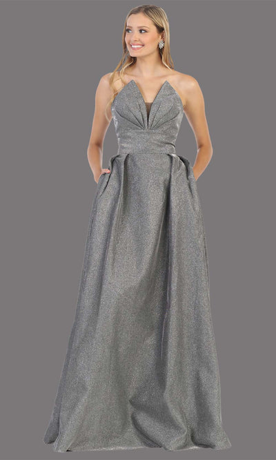 Mayqueen MQ1710 long silver metallic strapless flowy dress with pockets.This dark grey a-line semi ballgown is perfect for prom, engagement dress, wedding reception dress, quinceanera, debut, sweet 16, formal wedding guest. Plus sizes are available