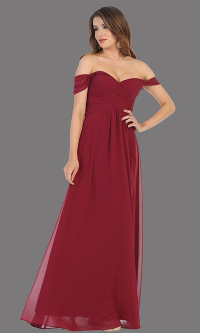 Mayqueen MQ1711 long burgundy flowy off shoulder dress. This dark red dress is perfect for bridesmaid dresses, simple wedding guest dress, prom dress, gala, black tie wedding. Plus sizes are available, evening party dress.jpg