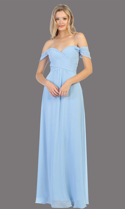 Mayqueen MQ1711 long dusty blue flowy off shoulder dress. This light blue dress is perfect for bridesmaid dresses, simple wedding guest dress, prom dress, gala, black tie wedding. Plus sizes are available, evening party dress.jpg