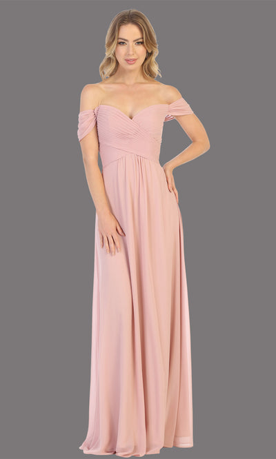 Mayqueen MQ1711 long dusty rose flowy off shoulder dress. This light pink dress is perfect for bridesmaid dresses, simple wedding guest dress, prom dress, gala, black tie wedding. Plus sizes are available, evening party dress.jpg