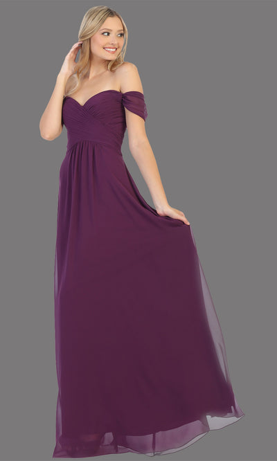 Mayqueen MQ1711 long eggplant flowy off shoulder dress. This dark purple dress is perfect for bridesmaid dresses, simple wedding guest dress, prom dress, gala, black tie wedding. Plus sizes are available, evening party dress.jpg