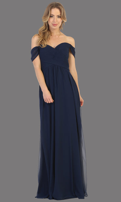 Mayqueen MQ1711 long navy blue flowy off shoulder dress. This dark blue dress is perfect for bridesmaid dresses, simple wedding guest dress, prom dress, gala, black tie wedding. Plus sizes are available, evening party dress.jpg
