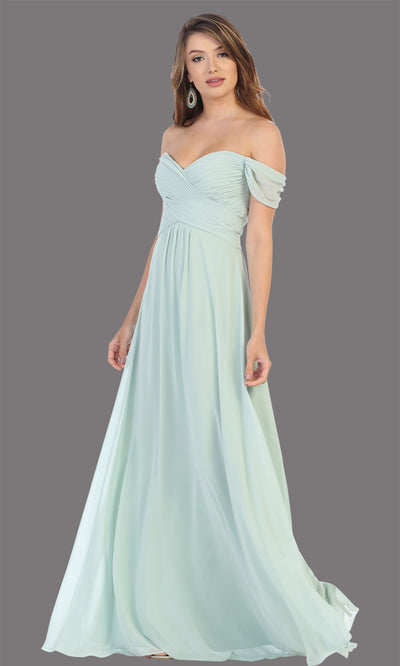 Mayqueen MQ1711 long sage green flowy off shoulder dress. This light green dress is perfect for bridesmaid dresses, simple wedding guest dress, prom dress, gala, black tie wedding. Plus sizes are available, evening party dress.jpg