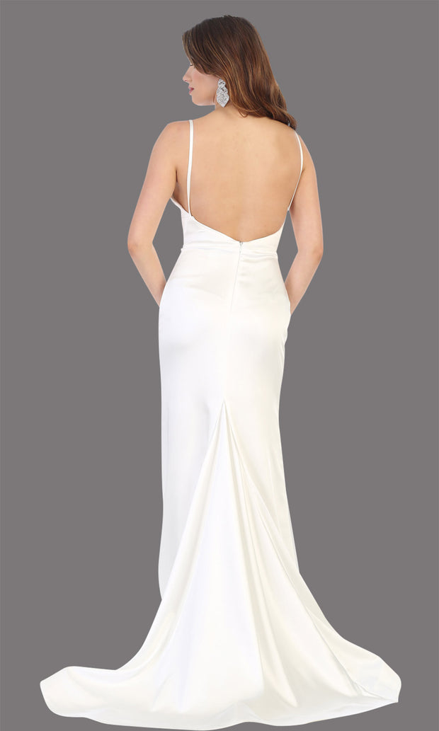 Mayqueen MQ1712-long ivory simple flowy bridal v neck low back dress. White formal dress is perfect for wedding bridal dress, white prom dress, simple wedding,second wedding, destination wedding dress, second wedding dress.Plus sizes avail-back
