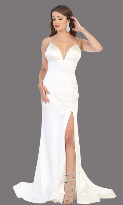 Mayqueen MQ1712-long ivory simple flowy bridal v neck low back dress. White formal dress is perfect for wedding bridal dress, white prom dress, simple wedding,second wedding, destination wedding dress, second wedding dress.Plus sizes avail