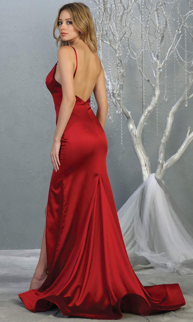 Mayqueen MQ1712 long Burgundy satin dress with high slit, low v back and v neck. Perfect for prom, engagement dress, wedding reception dress, black tie, formal wedding guest dress, sleek and sexy party dress. plus sizes available-b.jpg