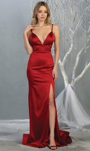 Mayqueen MQ1712 long Burgundy satin dress with high slit, low v back and v neck. Perfect for prom, engagement dress, wedding reception dress, black tie, formal wedding guest dress, sleek and sexy party dress. plus sizes available-1.jpg
