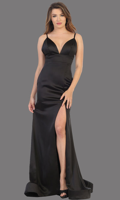 Mayqueen MQ1712 long black dress with high slit, low v back and v neck. Perfect for prom, engagement dress, wedding reception dress, black tie, formal wedding guest dress, sleek and sexy party dress. plus sizes available