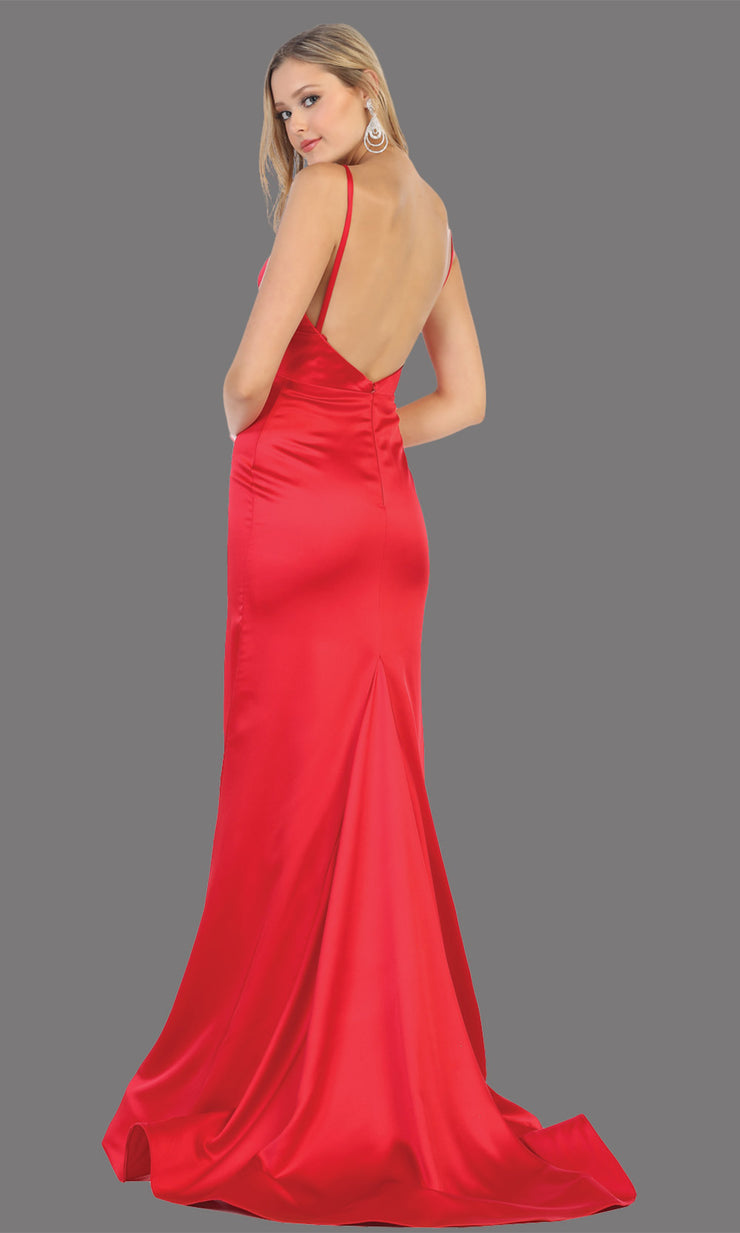 Mayqueen MQ1712 long red dress with high slit, low v back and v neck. Perfect for prom, engagement dress, wedding reception dress, black tie, formal wedding guest dress, sleek and sexy party dress. plus sizes available-back