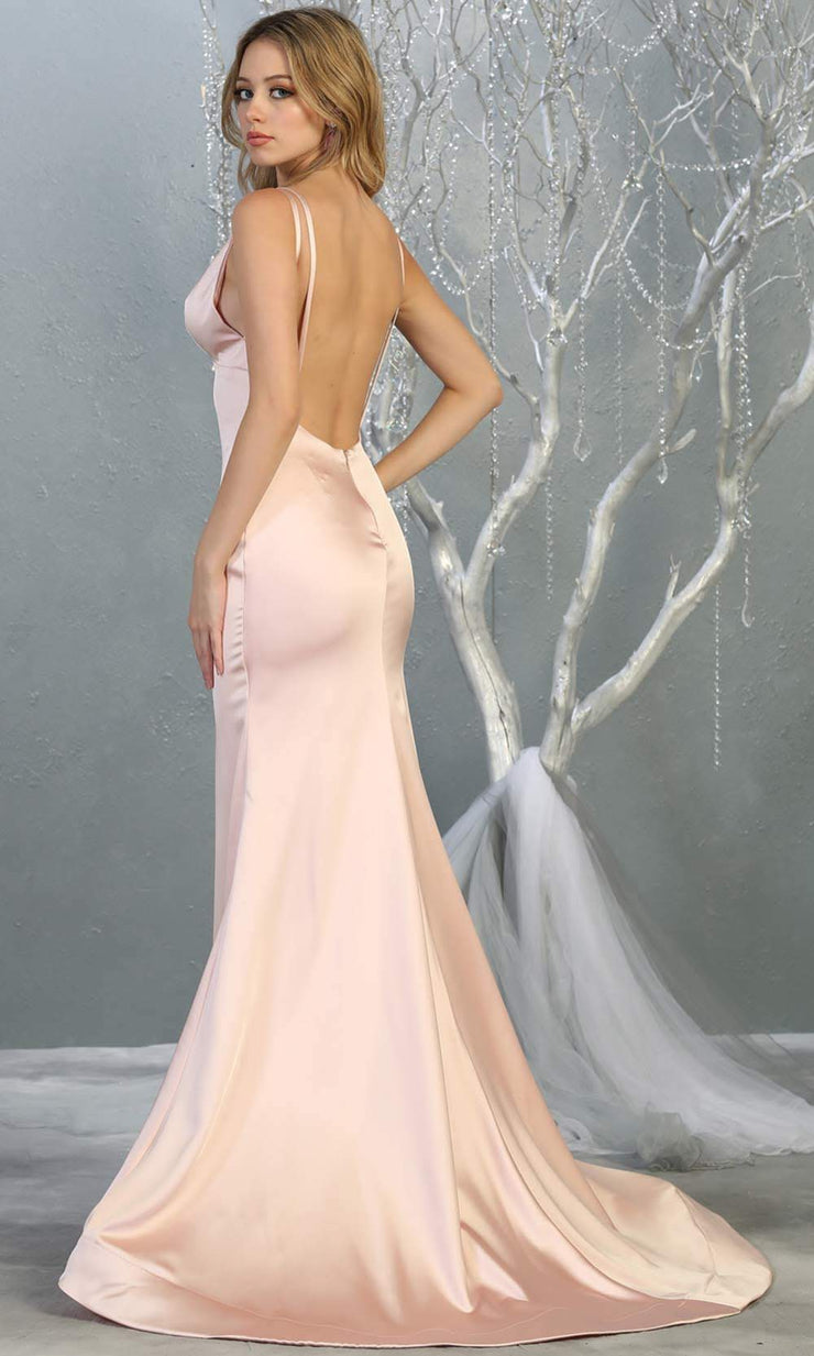 Mayqueen MQ1713 long blush pink satin mermaid dress w/ low v back & v neck. This sleek & sexy dress is Perfect for prom, engagement dress, wedding reception dress, black tie, formal wedding guest dress, sleek and sexy party dress. plus sizes avail-b.jpg