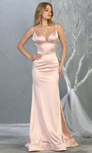 Mayqueen MQ1713 long blush pink satin mermaid dress w/ low v back & v neck. This sleek & sexy dress is Perfect for prom, engagement dress, wedding reception dress, black tie, formal wedding guest dress, sleek and sexy party dress. plus sizes available.jpg