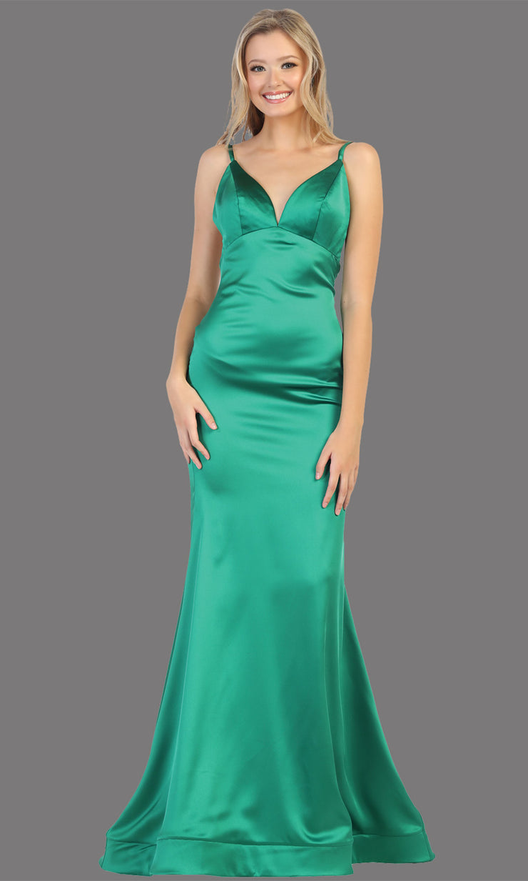 Mayqueen MQ1713 long emerald satin mermaid dress w/ low v back & v neck. This sleek & sexy dress is Perfect for prom, engagement dress, wedding reception dress, black tie, formal wedding guest dress, sleek and sexy party dress. plus sizes available