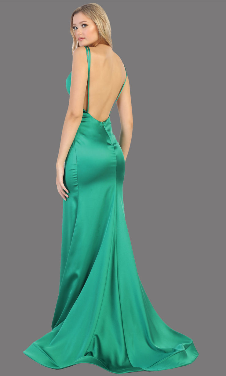 Mayqueen MQ1713 long emerald satin mermaid dress w/ low v back & v neck. This sleek & sexy dress is Perfect for prom, engagement dress, wedding reception dress, black tie, formal wedding guest dress, sleek and sexy party dress. plus sizes available-b