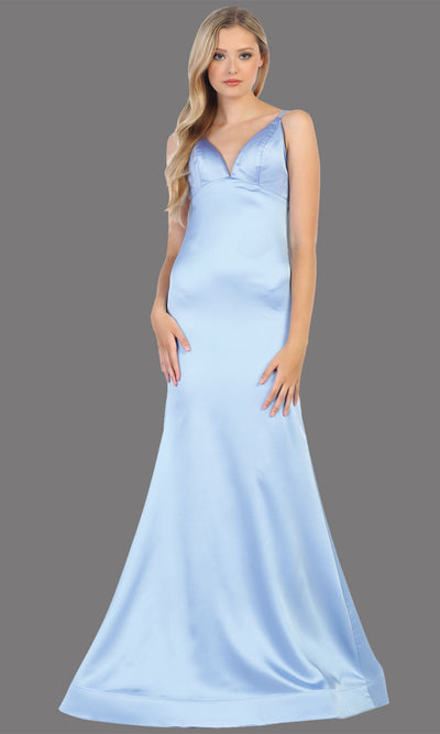 Mayqueen MQ1713 long perry blue satin mermaid dress w/ low v back & v neck. This sleek & sexy dress is Perfect for prom, engagement dress, wedding reception dress, black tie, formal wedding guest dress, sleek and sexy party dress. plus sizes available
