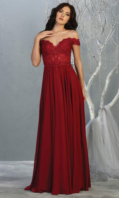 Mayqueen MQ1714 long Burgundy red flowy dress features an off shoulder lace neckline top with a chiffon flowy skirt. Perfect for bridesmaid dresses, simple prom dress, formal wedding guest dress,indowestern party dress,black tie party.Plus sizes avail.jpg