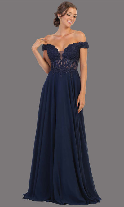 Mayqueen MQ1714 long mauve flowy dress features an off shoulder lace neckline top with a chiffon flowy skirt. Perfect for bridesmaid dresses, simple prom dress, formal wedding guest dress, indowestern party dress,black tie party. Plus sizes avail.jpg