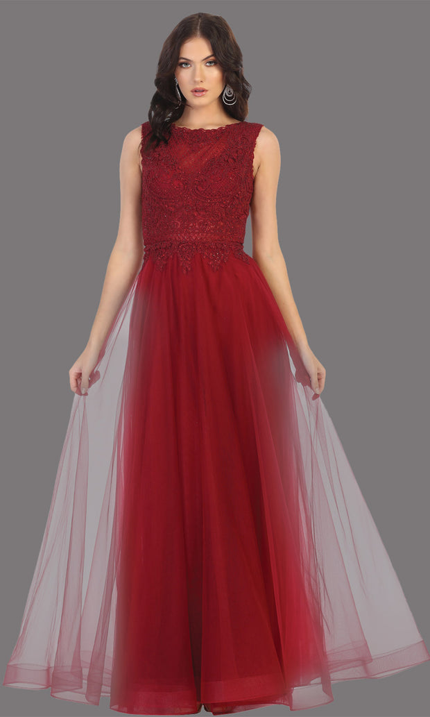 Mayqueen MQ1717 long burgundy red flowy dress with high neck & high back. This dark red dress is perfect for bridesmaid dresses, simple wedding guest dress, prom dress, gala, black tie wedding. Plus sizes are available, evening party dress.jpg