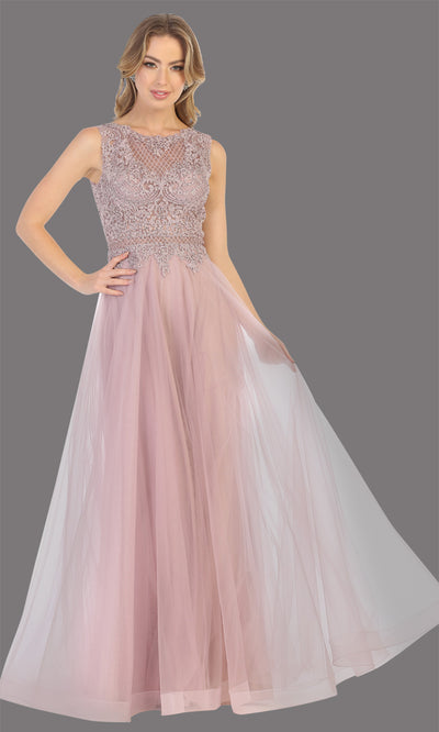 Mayqueen MQ1717 long mauve flowy dress with high neck & high back. This dusty rose dress is perfect for bridesmaid dresses, simple wedding guest dress, prom dress, gala, black tie wedding. Plus sizes are available, evening party dress.jpg