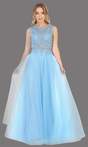 Mayqueen MQ1717 long perry blue flowy dress with high neck & high back. This light blue dress is perfect for bridesmaid dresses, simple wedding guest dress, prom dress, gala, black tie wedding. Plus sizes are available, evening party dress.jpg