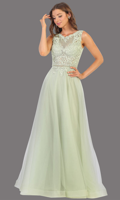 Mayqueen MQ1717 long sage green flowy dress with high neck & high back. This light green dress is perfect for bridesmaid dresses, simple wedding guest dress, prom dress, gala, black tie wedding. Plus sizes are available, evening party dress.jpg