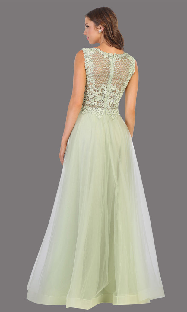 Mayqueen MQ1717 long sage green flowy dress with high neck & high back. This light green dress is perfect for bridesmaid dresses, simple wedding guest dress, prom dress, gala, black tie wedding. Plus sizes are available, evening party dress-b.jpg