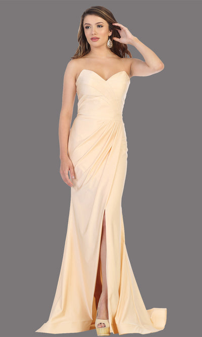 Mayqueen MQ1718 long champagne fitted strapless dress w/high slit. This sleek & sexy light gold dress is perfect as a bridesmaid dress, prom dress, formal wedding guest dress, gala, black tie event, engagement/e-shoot dress. Plus sizes available