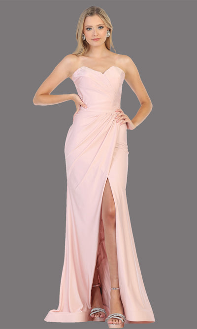 Mayqueen MQ1718 long mauve fitted strapless dress w/high slit. This sleek & sexy dusty rose dress is perfect as a bridesmaid dress, prom dress, formal wedding guest dress, gala, black tie event, engagement/e-shoot dress. Plus sizes available