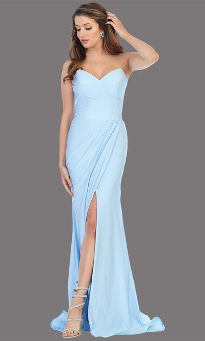 Mayqueen MQ1718 long perry blue fitted strapless dress w/high slit. This sleek & sexy light blue dress is perfect as a bridesmaid dress, prom dress, formal wedding guest dress, gala, black tie event, engagement/e-shoot dress. Plus sizes available