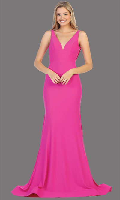 Mayqueen MQ1719 long sleek & sexy magenta pink dress w/ low v neck. This tight fitted mermaid dress w/low back. Magenta formal gown is perfect for prom, engagement/e-shoot dress, formal wedding guest dress, gala, black tie event.Plus sizes avail