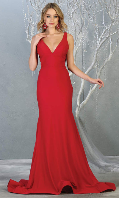 Mayqueen MQ1719 long sleek & sexy red dress with low v neck. This tight fitted mermaid dress w/ low back. This red tight fitted formal gown is perfect for prom, engagement/e-shoot dress, formal wedding guest dress,gala,black tie event.Plus sizes avail.jpg