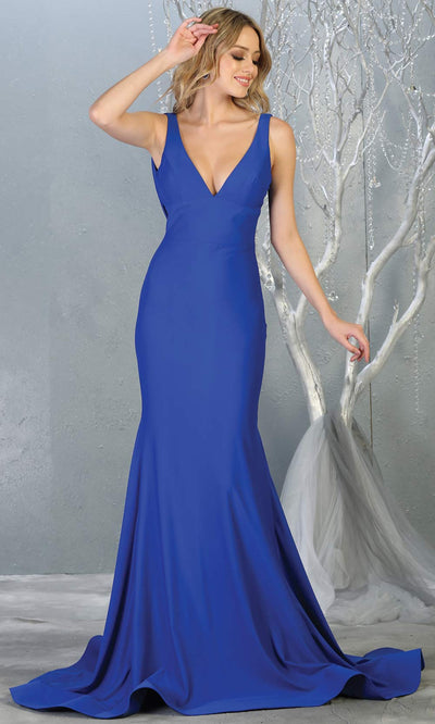 Mayqueen MQ1719 long sleek & sexy royal blue dress w/ low v neck. This tight fitted mermaid dress w/low back. Royal blue formal gown is perfect for prom, engagement/e-shoot dress, formal wedding guest dress, gala, black tie event.Plus sizes avail.jpg