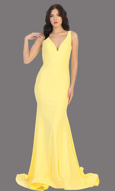 Mayqueen MQ1719 long sleek & sexy yellow dress w/ low v neck. This tight fitted mermaid dress w/low back. Yellow formal gown is perfect for prom, engagement/e-shoot dress, formal wedding guest dress, gala, black tie event.Plus sizes avail