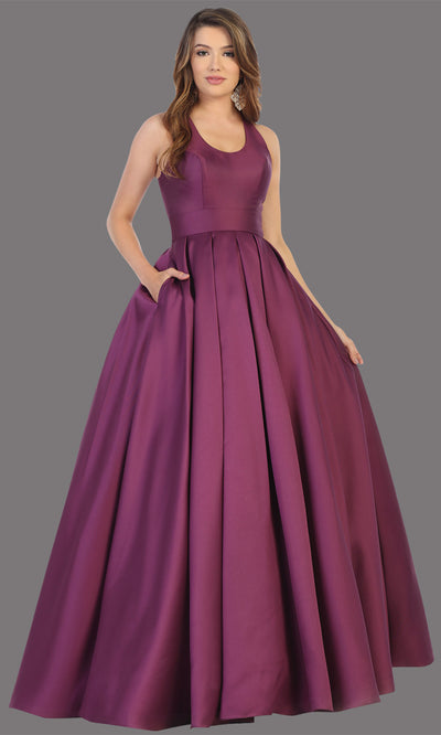 Mayqueen MQ1721-long eggplant semi ballgown w/open back. This simple purple dress is perfect for prom, engagement/e-shoot, wedding reception dress, bridesmaid dresses, formal wedding guest dress, sweet 16 dress, debut. Plus sizes avail