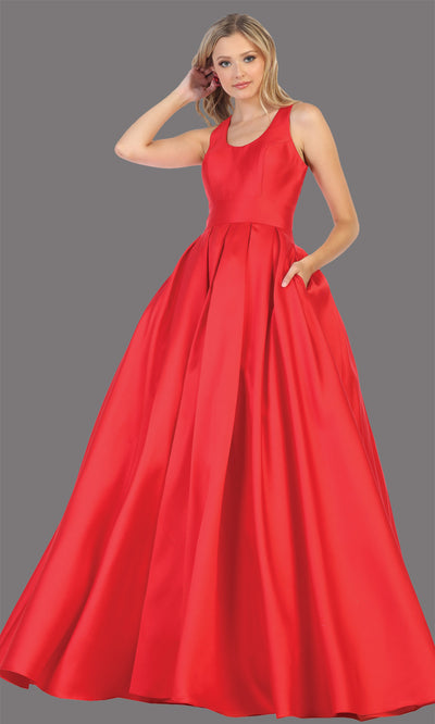 Mayqueen MQ1721-long red semi ballgown w/open back. This simple red dress is perfect for prom, engagement/e-shoot, wedding reception dress, bridesmaid dresses, formal wedding guest dress, sweet 16 dress, debut. Plus sizes avail