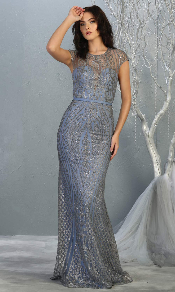 Mayqueen MQ1722 long dusty blue beaded fitted dress w/ high neck. This sleek & sexy modest evening dress is perfect for prom, engagement/e-shoot dress, formal wedding guest dress, wedding reception dress. Plus sizes avail in this blue purple dress.jpg