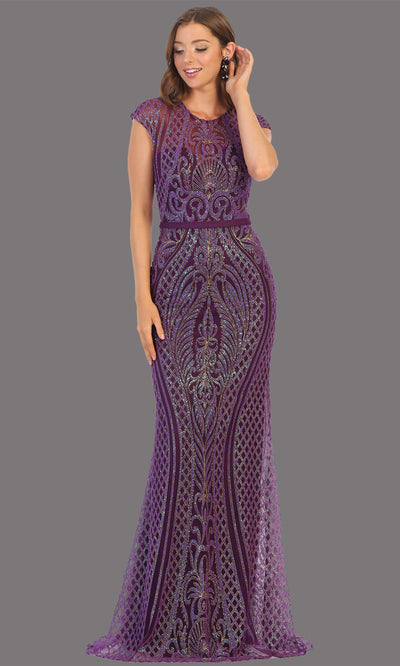 Mayqueen MQ1722 long eggplant beaded fitted dress w/ high neck. This sleek & sexy modest evening purple dress is perfect for prom, engagement/e-shoot dress, formal wedding guest dress, wedding reception dress. Plus sizes avail in dark purple dress