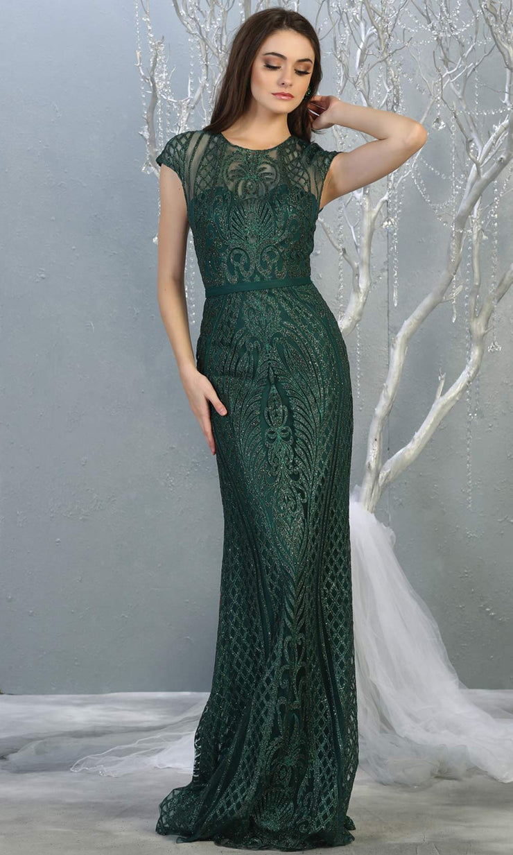 Mayqueen MQ1722 long hunter green beaded fitted dress w/ high neck. This sleek & sexy modest evening dress is perfect for prom, engagement/e-shoot dress, formal wedding guest dress, wedding reception dress. Plus sizes avail in this dark green dress.jpg