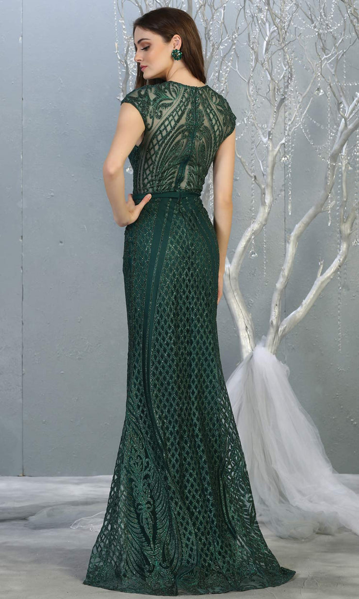 Mayqueen MQ1722 long hunter green beaded fitted dress w/ high neck. This sleek & sexy modest evening dress is perfect for prom, engagement/e-shoot dress, formal wedding guest dress, wedding reception dress. Plus sizes avail in this dark green dress-b.jpg
