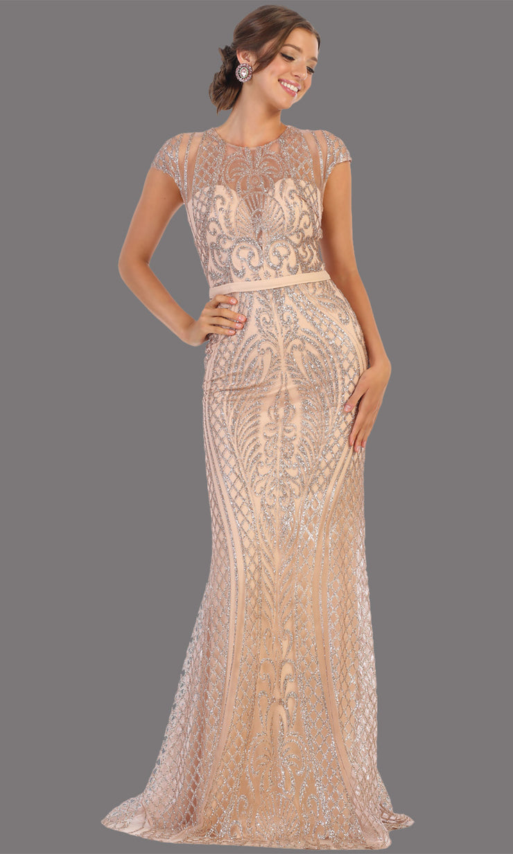 Mayqueen MQ1722 long mauve pink beaded fitted dress w/ high neck. This sleek & sexy modest evening dress is perfect for prom, engagement/e-shoot dress, formal wedding guest dress, wedding reception dress. Plus sizes avail in this dusty rose dress
