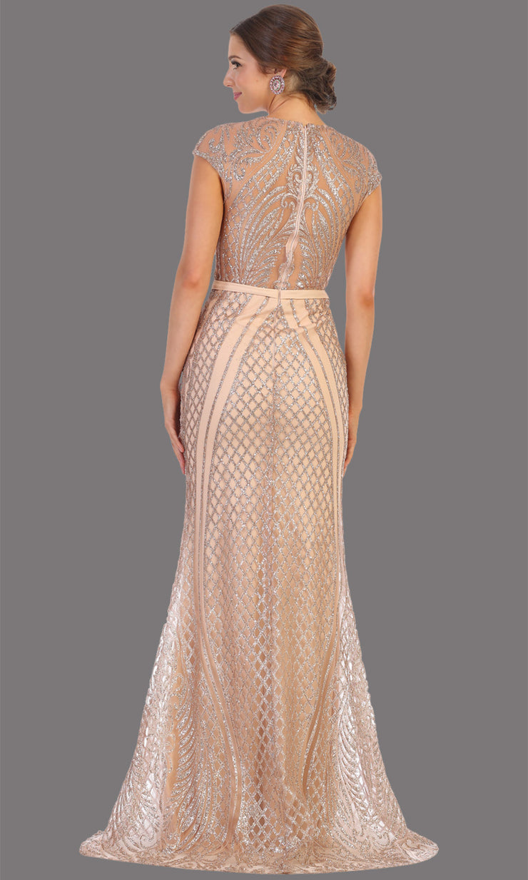 Mayqueen MQ1722 long mauve pink beaded fitted dress w/ high neck. This sleek & sexy modest evening dress is perfect for prom, engagement/e-shoot dress, formal wedding guest dress, wedding reception dress. Plus sizes avail in this dusty rose dress-back