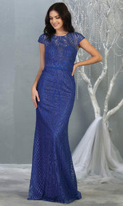 Mayqueen MQ1722 long royal blue beaded fitted dress w/ high neck. This sleek & sexy modest evening dress is perfect for prom, engagement/e-shoot dress, formal wedding guest dress, wedding reception dress. Plus sizes avail in this royal blue dress.jpg