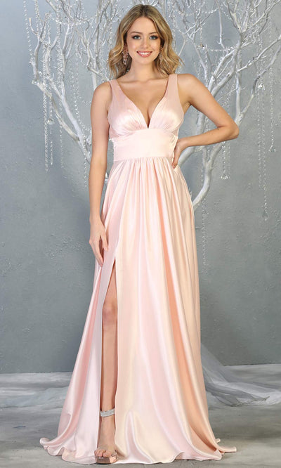 Mayqueen MQ1723 long Blush pink satin dress with v neck, wide straps, & high slit. This long light pink dress is perfect for bridesmaid dresses, summer wedding guest dress, formal evening party dress, prom dress, engagement/e-shoot dress.Plus sizes.jpg