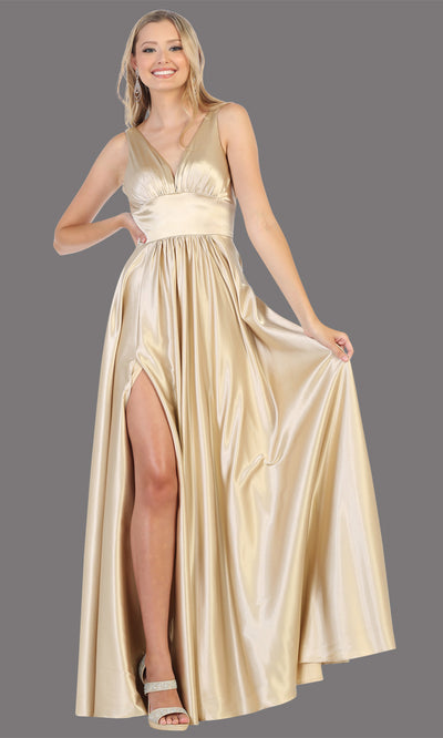 Mayqueen MQ1723 long champagne satin dress with v neck, wide straps, & high slit. This long light gold dress is perfect for bridesmaid dresses, summer wedding guest dress, formal evening party dress, prom dress, engagement/e-shoot dress.Plus sizes
