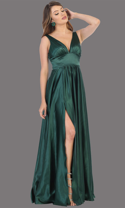Mayqueen MQ1723 long hunter green satin dress with v neck, wide straps, & high slit. This long dark green dress is perfect for bridesmaid dresses, summer wedding guest dress, formal evening party dress, prom dress, engagement/e-shoot dress.Plus sizes