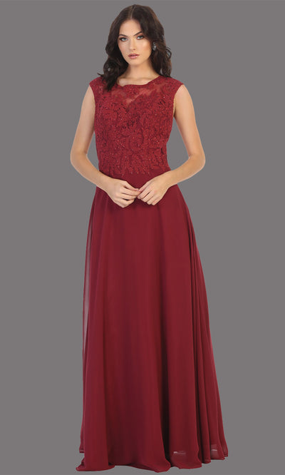 Mayqueen MQ1725 long burgund red flowy dress with high neck & high back. This dark red dress is perfect for bridesmaid dresses, simple wedding guest dress, prom dress, gala, black tie wedding. Plus sizes are available, evening party dress.jpg