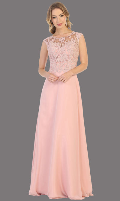 Mayqueen MQ1725 long dusty rose flowy dress with high neck & high back. This light pink dress is perfect for bridesmaid dresses, simple wedding guest dress, prom dress, gala, black tie wedding. Plus sizes are available, evening party dress.jpg