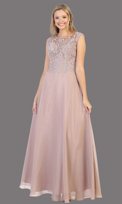 Mayqueen MQ1725 long mauve flowy dress with high neck & high back. This dusty rose dress is perfect for bridesmaid dresses, simple wedding guest dress, prom dress, gala, black tie wedding. Plus sizes are available, evening party dress.jpg