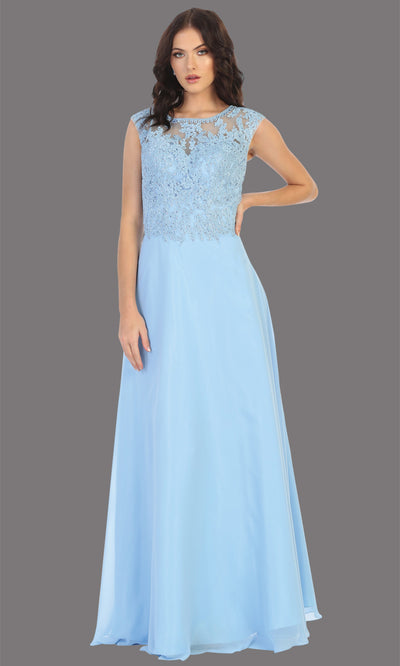 Mayqueen MQ1725 long perry blue flowy dress with high neck & high back. This light blue dress is perfect for bridesmaid dresses, simple wedding guest dress, prom dress, gala, black tie wedding. Plus sizes are available, evening party dress.jpg