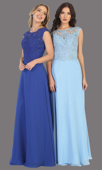 Mayqueen MQ1725 long royal blue flowy dress with high neck & high back. This royal blue dress is perfect for bridesmaid dresses, simple wedding guest dress, prom dress, gala, black tie wedding. Plus sizes are available, evening party dress.jpg