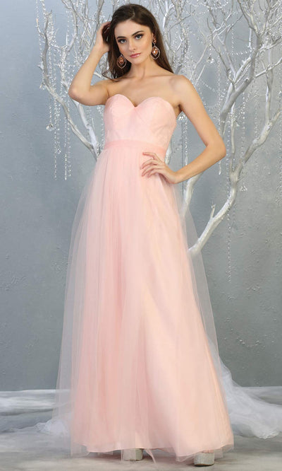 Mayqueen MQ1728 long blush pink flowy tulle mesh dress.Light pink evening dress is perfect for bridesmaid dresses, formal wedding guest party dress.This multiway convertible tulle dress allows you to wear a dress w/different necklines. Plus sizes avai.jpg